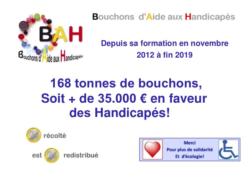 bah bouchons aide aux handicapés : résultat de 2012 à 2018
